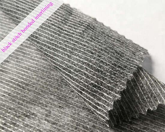black stitch bonded interlining